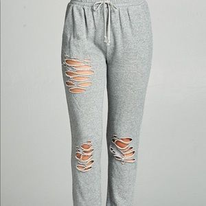 Pants - Heather Gray Distressed French Terry Joggers